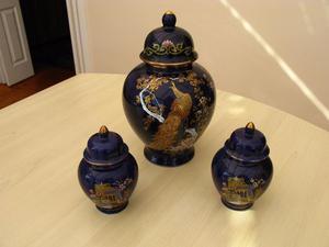 Nice set of 3 Cobalt Blue and Gold Porcelain Oriental Ginger