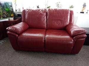 Reclining Leather Settee and Chair