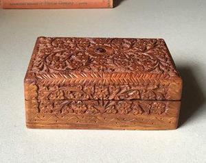 Vintage Wooden hand carved Jewellery Jewelry Box Storage Tri