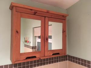 Wall mounted wooden bathroom cabinet with mirror doors