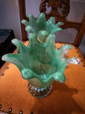 pair of Italian murano style green vases