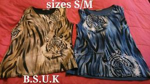 2 sets of tiger tops gold/black and blue, both size S/M