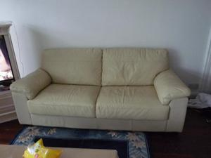 2 x cream leather 3 seat settees, BR3