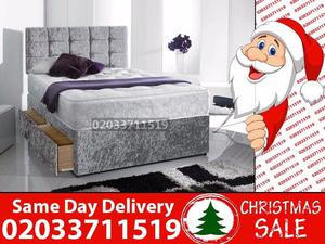 Brand New DOUBLE Crush Velvet Divan Bed Available With Mattress Order Now Kirkwood