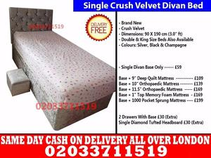 Brand New Single Crush Velvet Divan Bed Available With Mattress Order Now Montier