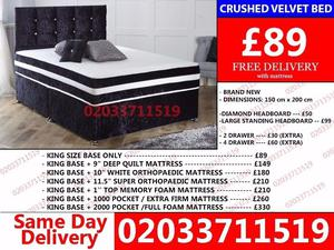 Crushed velvet bed king size Available double With Mattress Brand New Russell Springs