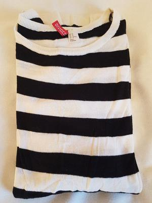 H&M Divided Black and White Striped Thin Jumper/Top