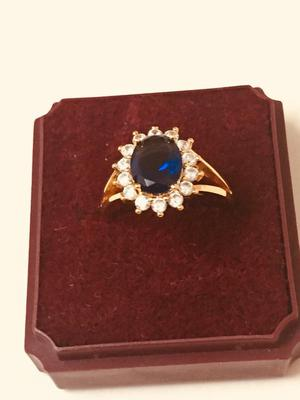 New 24k gold filled blue Sapphire ladies ring