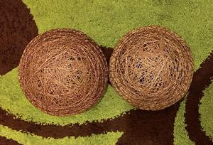 Rattan style woven lampshades - chocolate brown