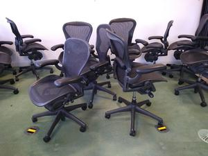 Set of 10 Herman Miller Aeron Chairs Fully Adjustable Size B in Carbon - Price Includes VAT