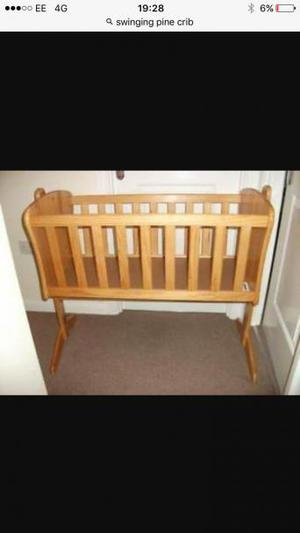 Swinging pine crib from Toys R us