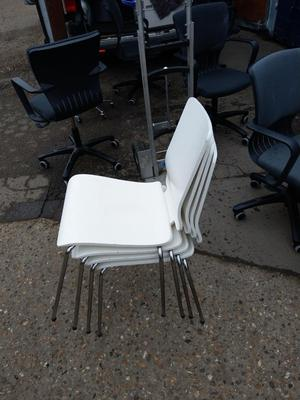 4 x white glossy ikea stacking chairs on January sales