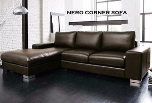 BRAND NEW nero LEATHER CORNER SOFA BLACK OR BROWN fast delivery