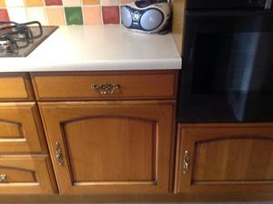 Complete oak kitchen,hob and fridge