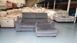 Ex-display Elixir grey fabric 3 seater chaise sofa