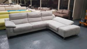 Guest silver suede fabric corner chaise sofa
