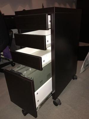 Ikea Micke Black Filing Cabinet