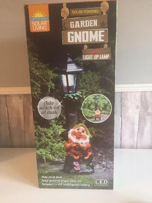 Solar Powered Garden Gnome with Lamp, Brand New