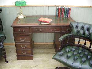 Stunning Leather Inlay Desk and Chesterfield Captains Chair