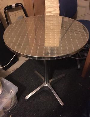 Chrome metal indoor/outdoor table