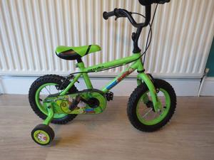 "GREAT BOYS 12"" WHEEL BIKE COMPLETE WITH STABILISERS. APOLLO MARVIN MONKEY GREAT CONDITION, WORKING,"