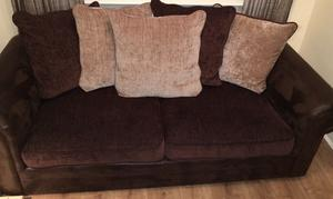 3 seater 2 seater and footstool brown immaculate
