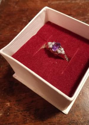 Amethyst Ring with Cubic Zirconia detail on gold plated band