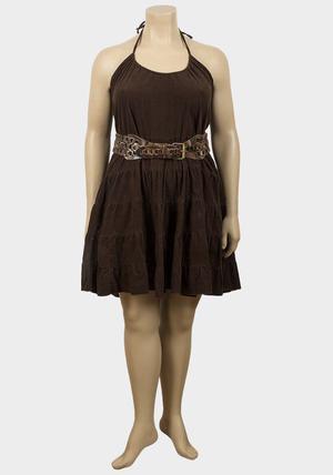Joblot of 15 womens corded dark brown dresses