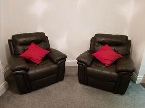 3 piece brown leather recliner suite in Sunderland
