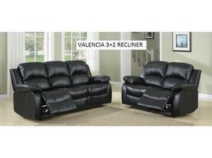 3+2 Valencia Black Leather Recliner sofa set, many more