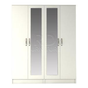 Beatrice 4 door double mirrored warrobe white finish