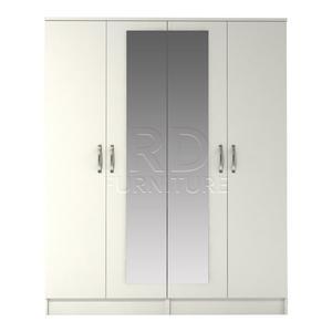 Beatrice 4 door mirrored robe white finish