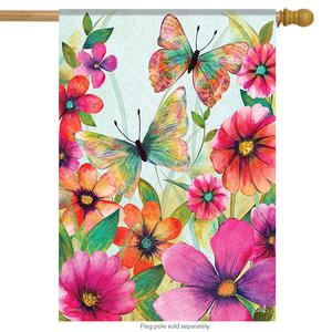 Butterfly Meadow Summer House Flag Decorative Double Sided