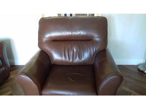 G Plan Gemma Leather 3 piece suite(Brown) in Spennymoor