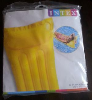 LEMON YELLOW INTEX INFLATABLE LILO AIR BED MAT FLOAT LOUNGE