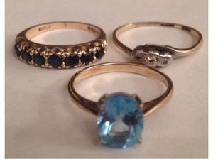 Ladies Jewellery 9ct Gold Gem Set Rings Fully Hallmarked 375