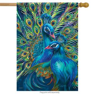 Peacock Rhapsody House Flag Spring Colorful Decorative