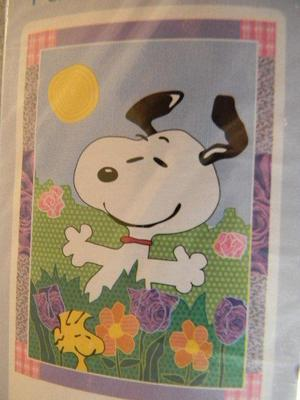 """Peanuts Gang Patchwork Flag """"FIELD OF FUN"""" Snoopy 28 x 40"""