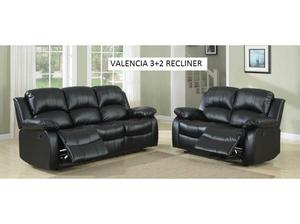 Valencia 3+2 Black Leather Recliner sofa set, many other