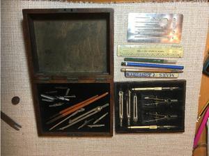 Vintage Geometry Set - Complete in original wooden box in