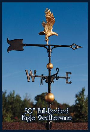 """Whitehall 30"""" Eagle Weathervane Full-Bodied Gold-Bronze with"""