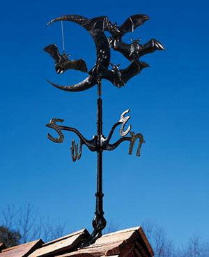 """Whitehall Moon & Bats 30"""" Weathervane Ships FAST in Rooftop"""