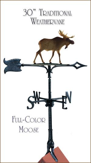 """Whitehall Moose 30"""" Full-Color Rooftop Weathervane FREE,"""