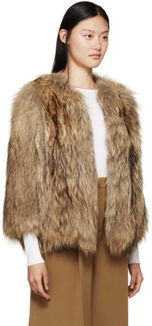 Yves-Salomon Fox fur jacket. Size