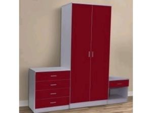 red gloss 3 piece bedroom set in Beccles
