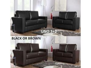 3+2 Black or Brown Uno leather sofa sets with many more