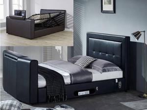Black Leather Gaslift storage TV bed, big price drop, plus