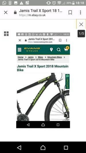 """Brand New Jamis Trail X Sport """" Mountain Bike"""