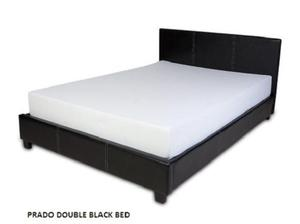 Double Prado Black Leather Bed plus mattress deal, special