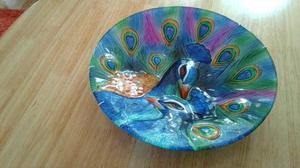 LARGE PEACOCK DISH / WALL PLATE
